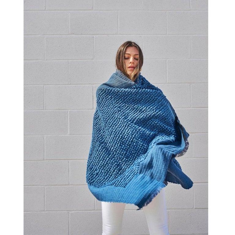 Macaroon Midnight Plush Handloom Throw or Blanket in Dark Blue Shades For Sale 1