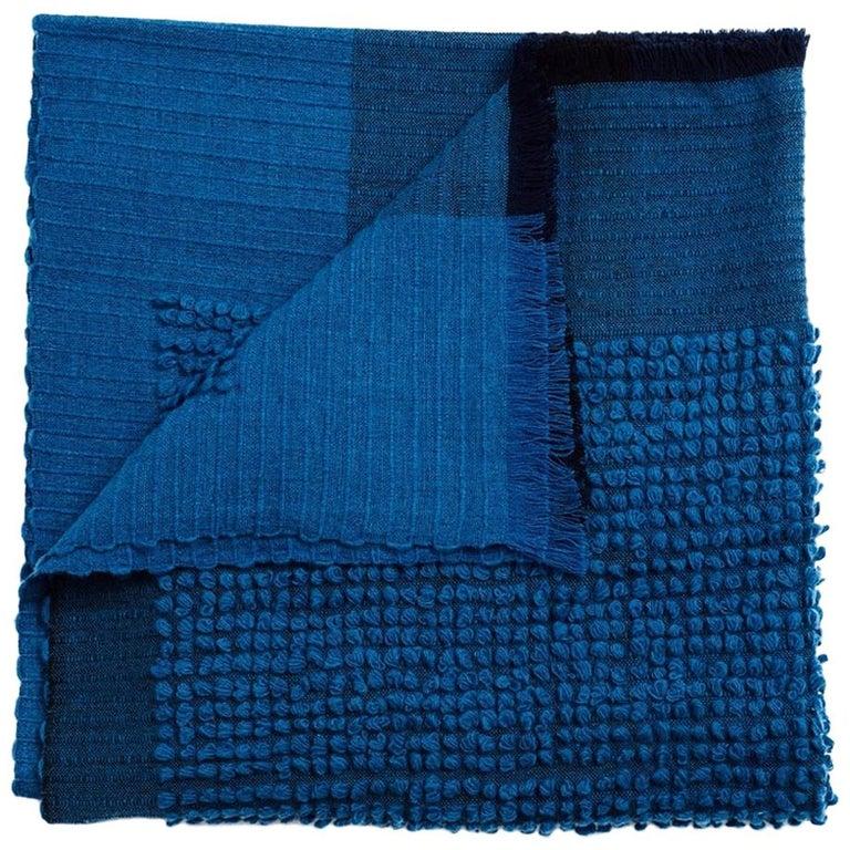 Macaroon Midnight Plush Handloom Throw or Blanket in Dark Blue Shades For Sale