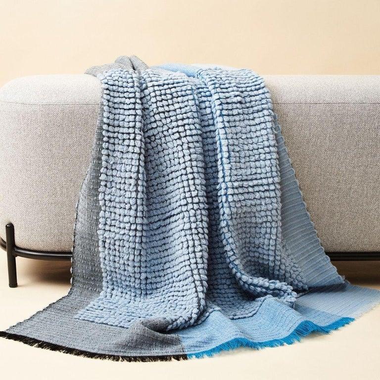 Modern Macaroon Sky Plush Handloom Throw or Blanket in Sky Blue Shades For Sale