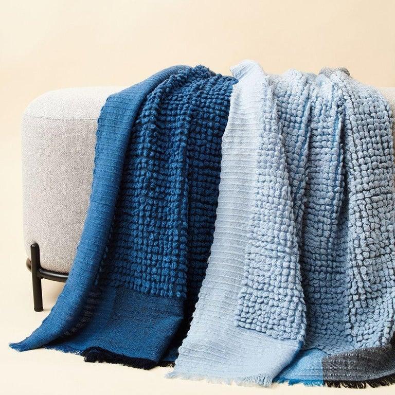 Hand-Woven Macaroon Sky Plush Handloom Throw or Blanket in Sky Blue Shades For Sale
