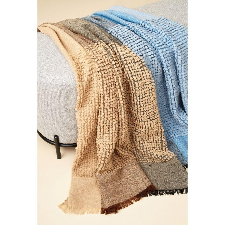 Contemporary Macaroon Sky Plush Handloom Throw or Blanket in Sky Blue Shades For Sale