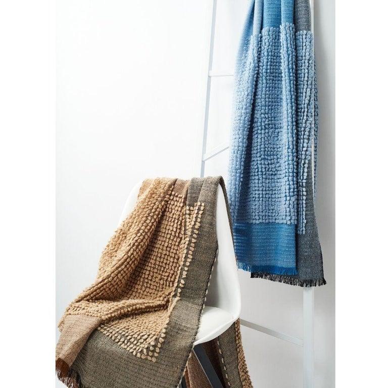 Yarn Macaroon Sky Plush Handloom Throw or Blanket in Sky Blue Shades For Sale