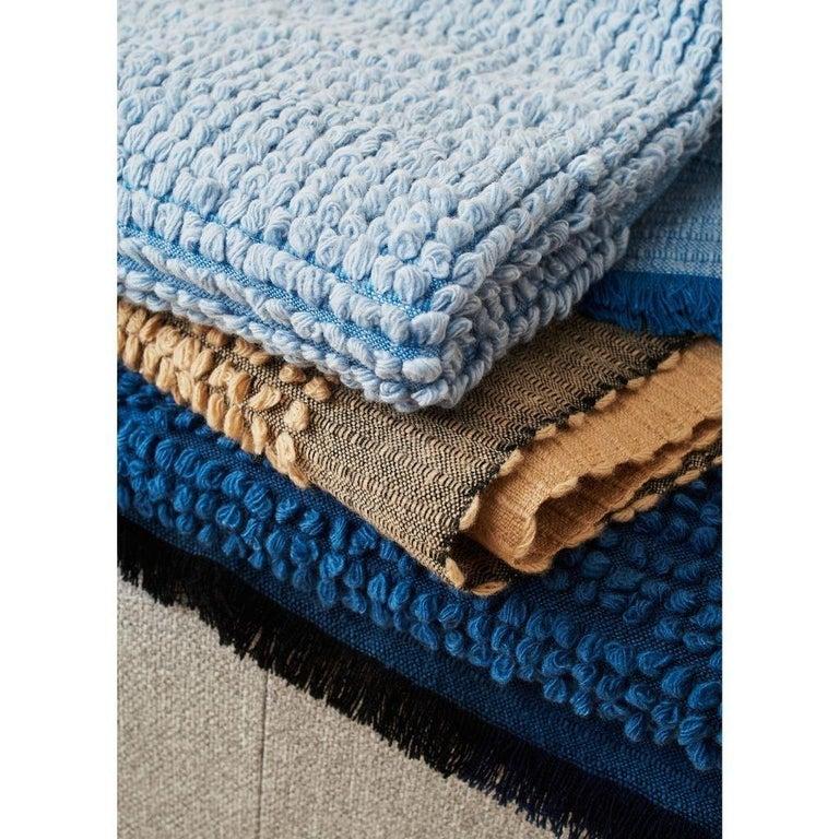 Macaroon Sky Plush Handloom Throw or Blanket in Sky Blue Shades For Sale 1