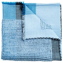 Macaroon Sky Plush Handloom Throw or Blanket in Sky Blue Shades