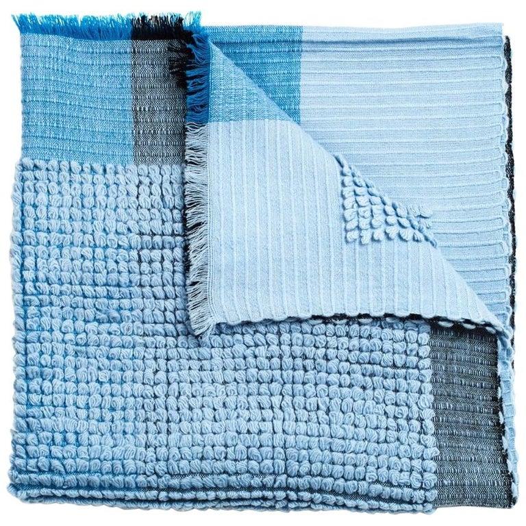Macaroon Sky Plush Handloom Throw or Blanket in Sky Blue Shades For Sale