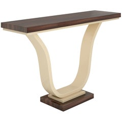Macassar and Ivory Lacquer Design Console Table