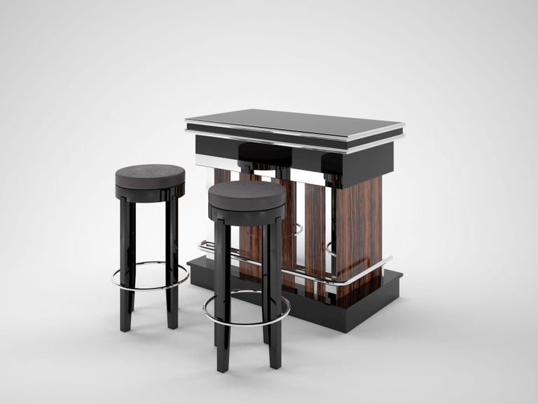Veneer Macassar and Piano Lacquer Design Bar with Chrome Poles and Stools in Leather For Sale
