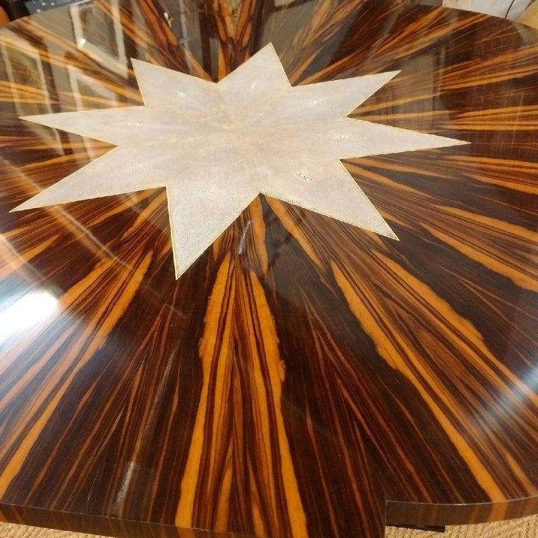 Macassar Art Deco Table with Shagreen, 1930 For Sale 4