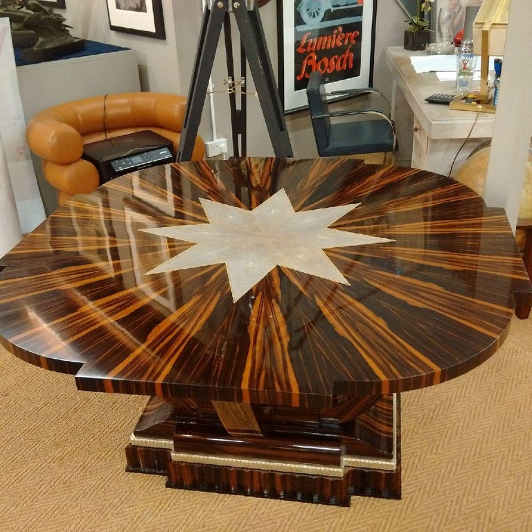Macassar Art Deco Table with Shagreen, 1930 For Sale 5