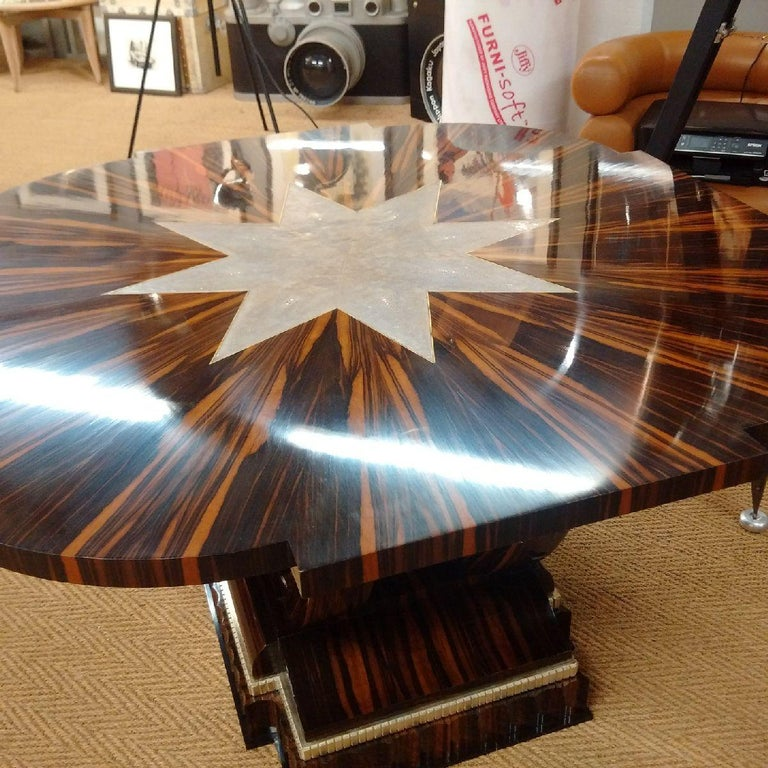 Macassar Art Deco Table with Shagreen, 1930 For Sale 6