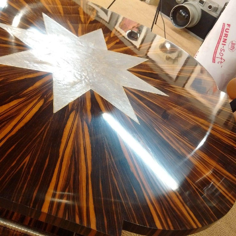 Macassar Art Deco Table with Shagreen, 1930 For Sale 2