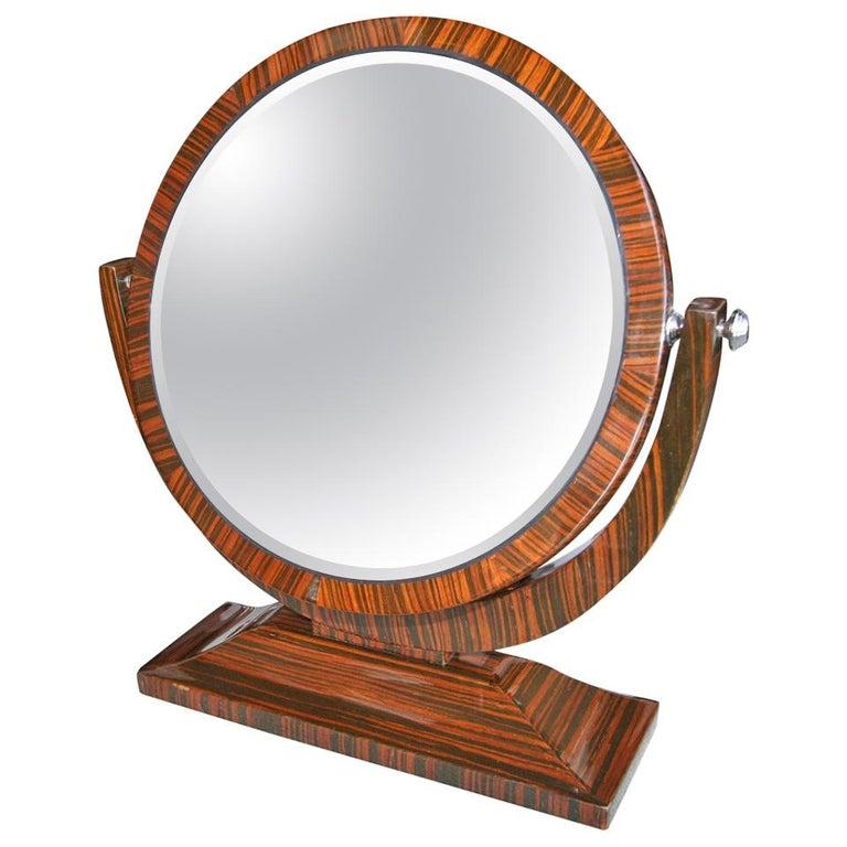 Macassar Ebony 1950s Tilting Vanity Mirror For Sale