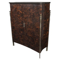 Macassar Ebony Abstract Parquetry Cabinet with Bronze Hardware and Granite Top