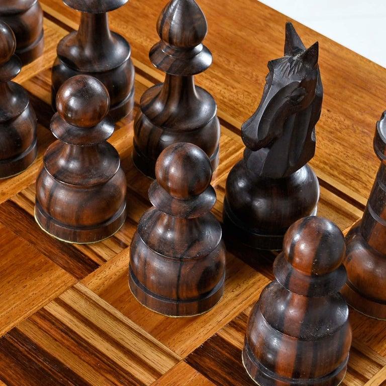 Macassar Ebony and Teak Exotic Hardwood Chess Set Table Set For Sale 4