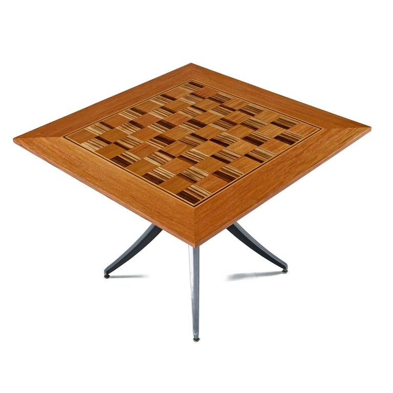 Mid-Century Modern Macassar Ebony and Teak Exotic Hardwood Chess Set Table Set For Sale