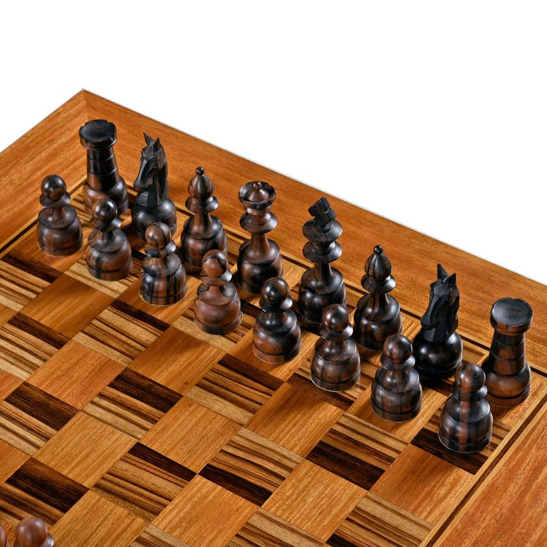 Macassar Ebony and Teak Exotic Hardwood Chess Set Table Set In Excellent Condition For Sale In Saint Petersburg, FL