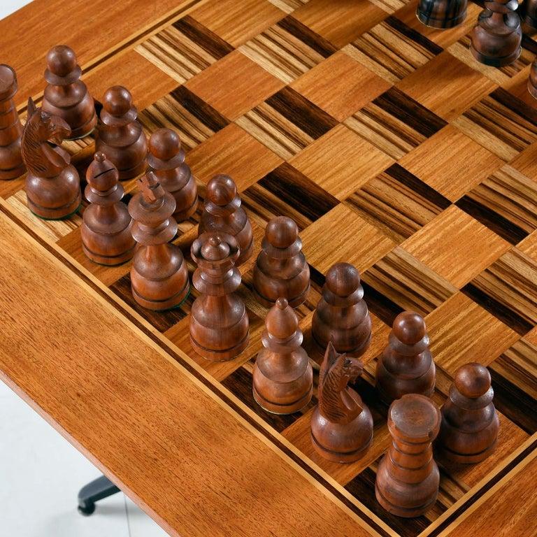Mid-20th Century Macassar Ebony and Teak Exotic Hardwood Chess Set Table Set For Sale