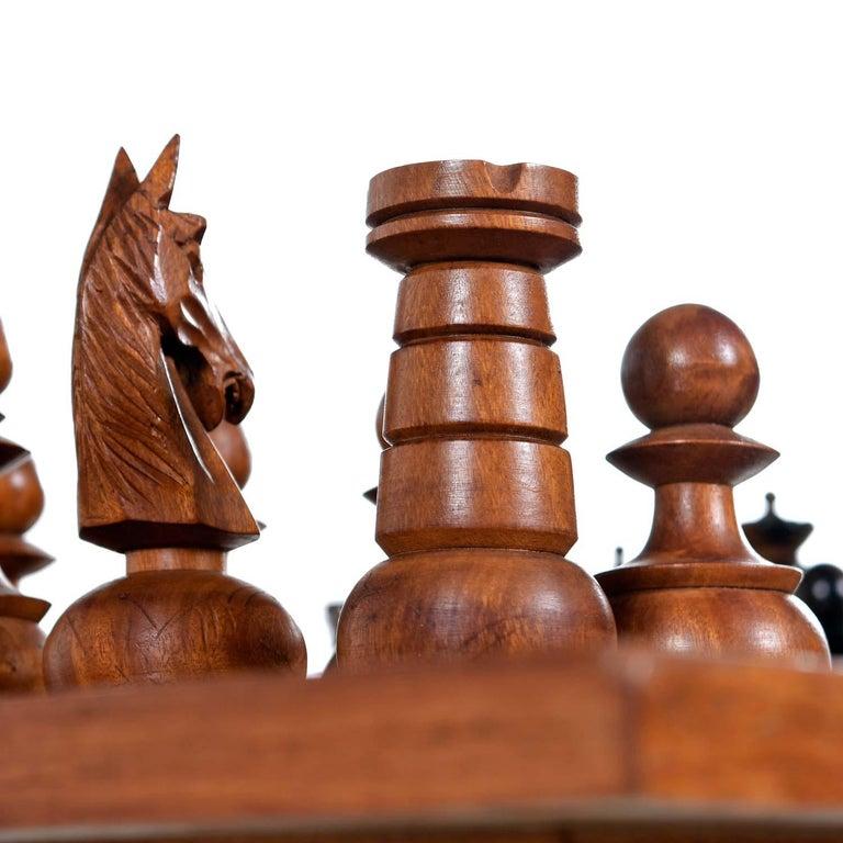 Aluminum Macassar Ebony and Teak Exotic Hardwood Chess Set Table Set For Sale