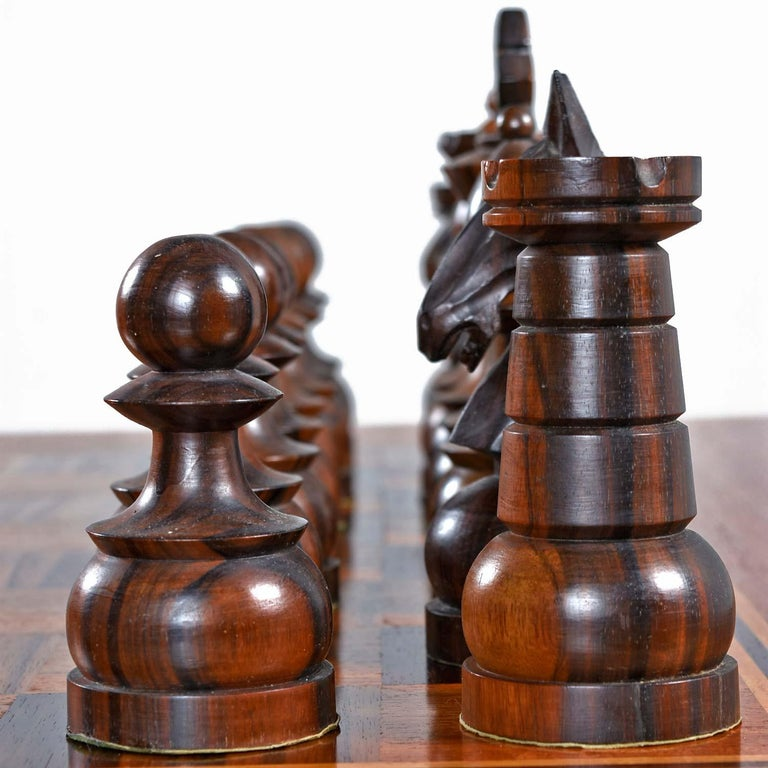 Macassar Ebony and Teak Exotic Hardwood Chess Set Table Set For Sale 2