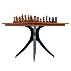 Macassar Ebony and Teak Exotic Hardwood Chess Set Table Set