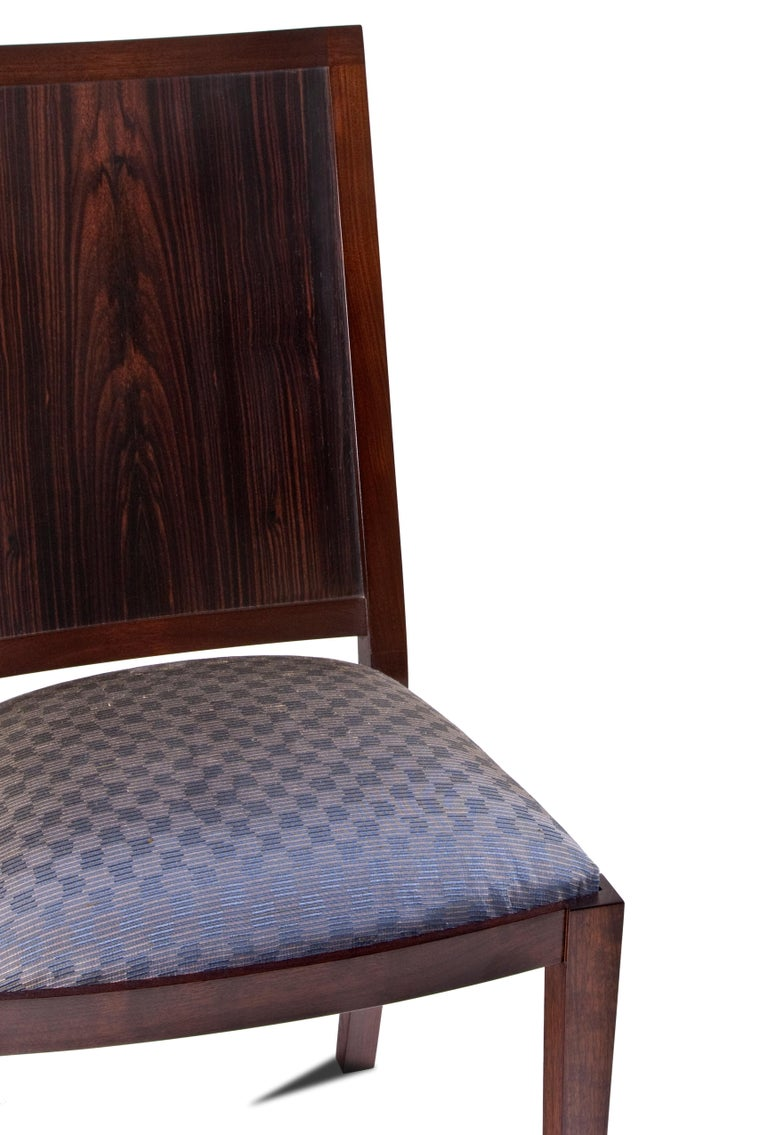 American Macassar Ebony and Walnut Side Chair in Fabric or Leather For Sale