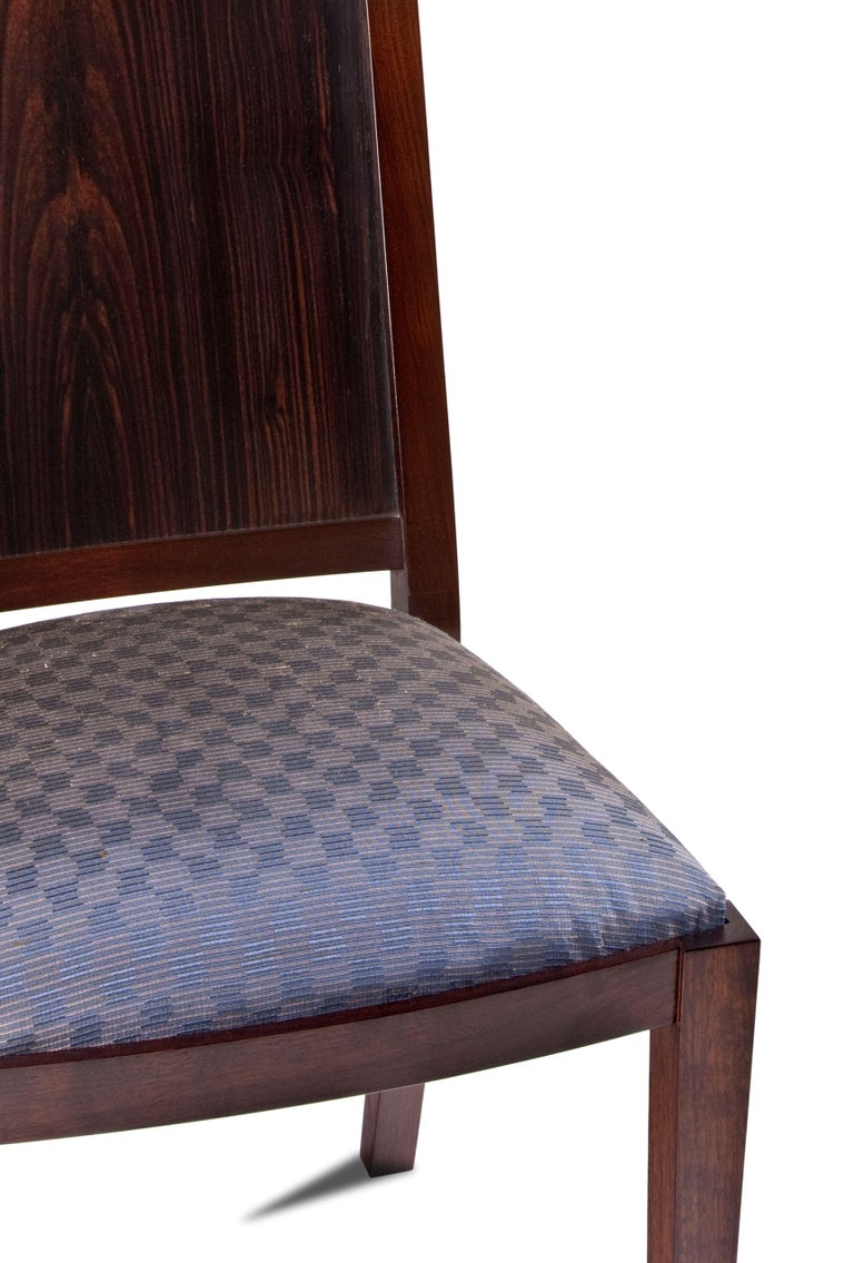 Woodwork Macassar Ebony and Walnut Side Chair in Fabric or Leather For Sale