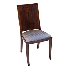 Macassar Ebony and Walnut Side Chair in Fabric or Leather