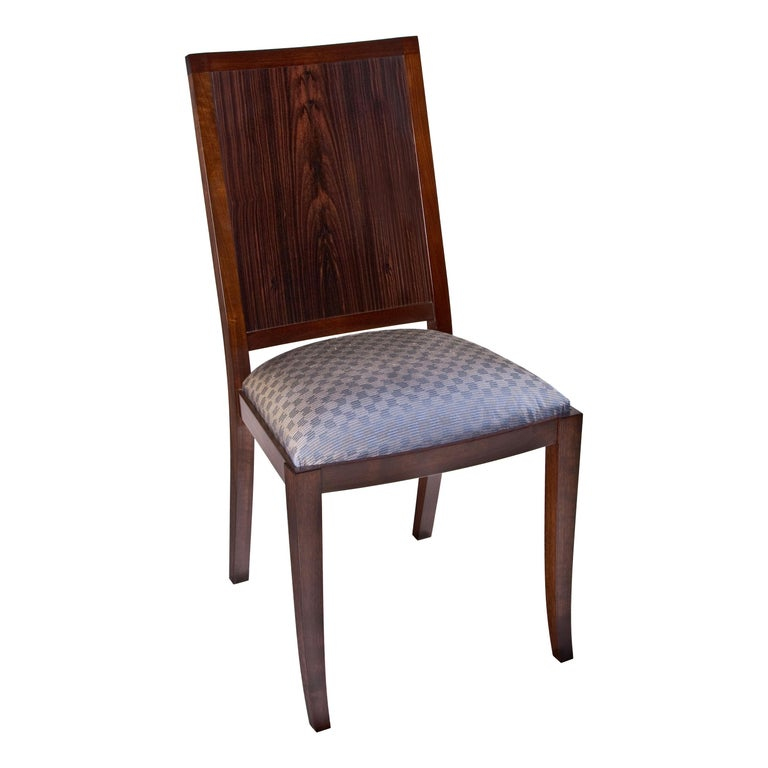 Macassar Ebony and Walnut Side Chair in Fabric or Leather For Sale