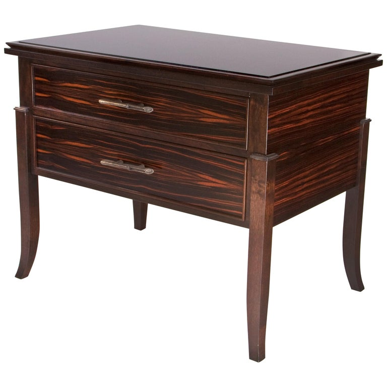 Macassar Ebony Side Table / Chest For Sale
