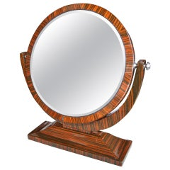 Macassar Ebony Wood 1950s Tilting Vanity Mirror