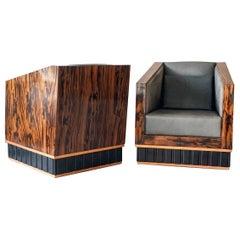 Macassar Ebony Wrapped Deco Club Chairs, 1950s