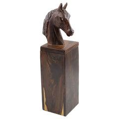 Macassar Wood Tall Horse Head Box