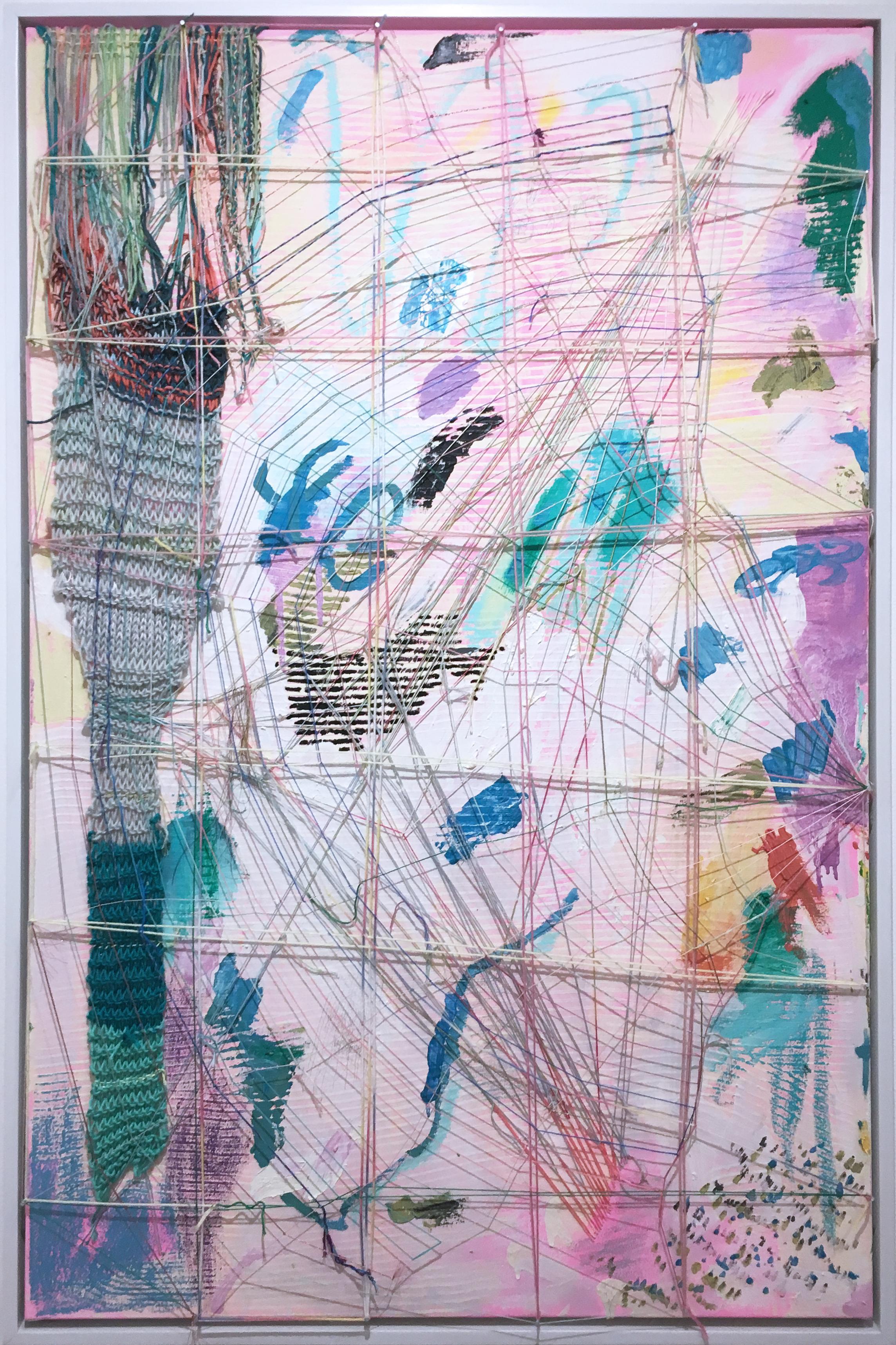 Half Web in Pink, 2020, acrylic, oil, canvas, yarn, thread, pink, abstract