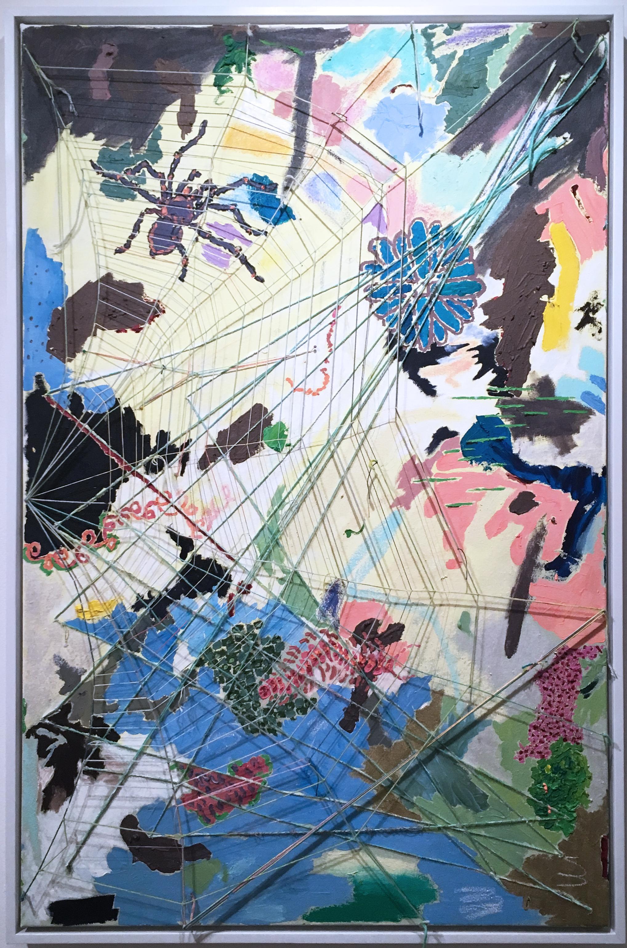 Half Web in Yellow, 2020, acrylic, oil, canvas, yarn, thread, blue, abstract