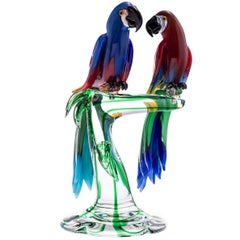Macaw Parrots in Murano Glass
