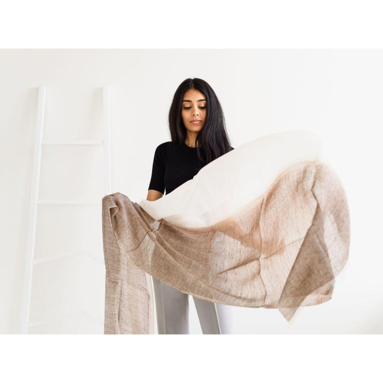 MACE Linen Scarf / Wrap  In New Condition For Sale In Bloomfield Hills, MI