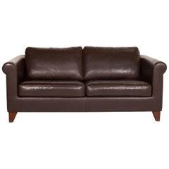 Machalke Amadeo Leather Sofa Dark Brown Brown Three-Seat Couch