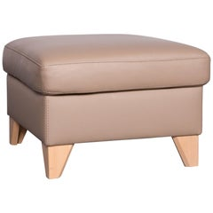 Machalke Designer Leather Footstool Beige