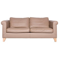 Machalke Designer Leather Sofa Beige Two-Seat Couch