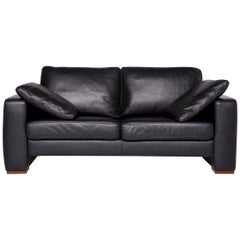 Machalke Designer Leather Sofa Black Two-Seat Couch