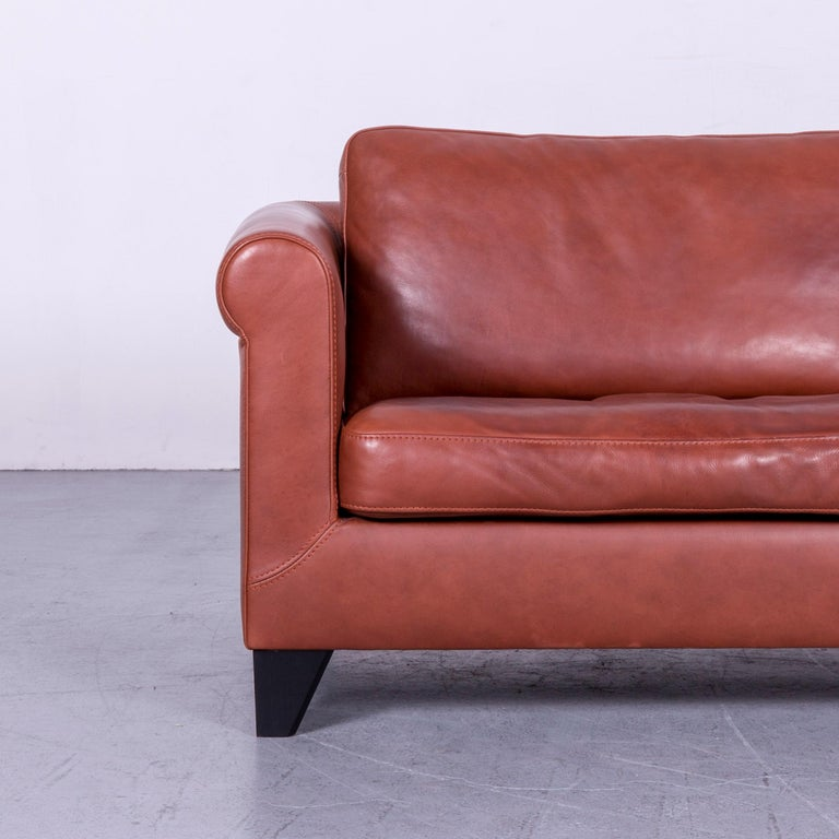 Machalke Designer Leather Sofa Red Two-Seat Couch Set For Sale 12