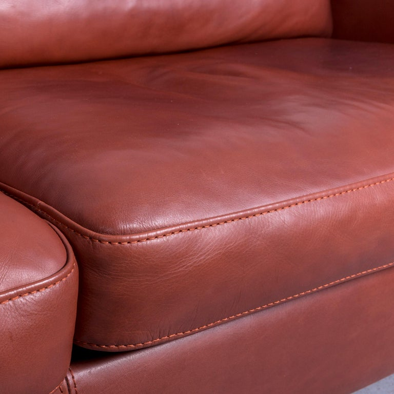 Machalke Designer Leather Sofa Red Two-Seat Couch Set For Sale 14