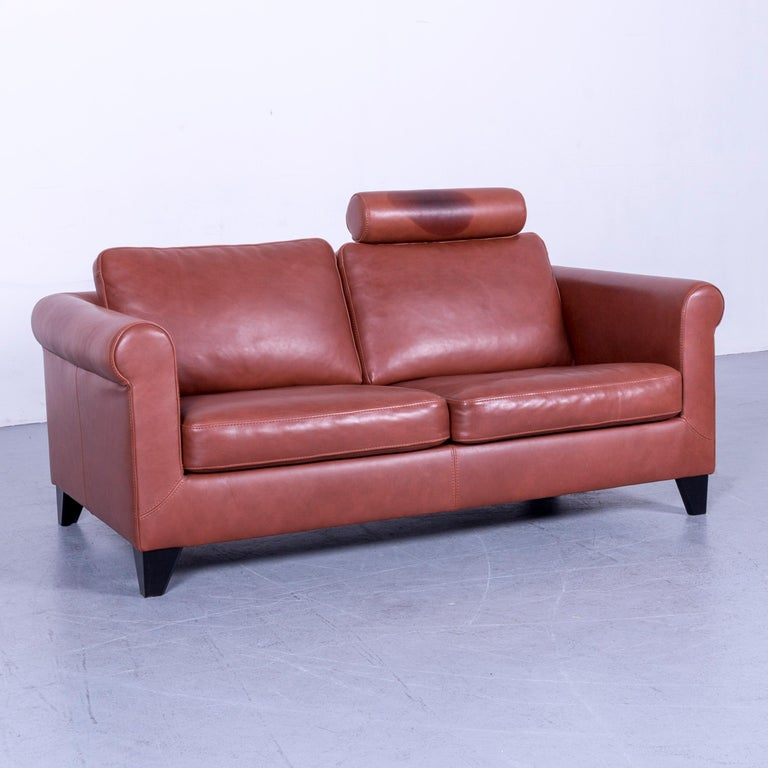 Machalke Designer Leather Sofa Red Two-Seat Couch Set In Good Condition For Sale In Cologne, DE