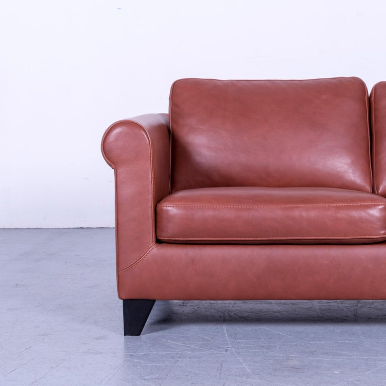 Contemporary Machalke Designer Leather Sofa Red Two-Seat Couch Set For Sale