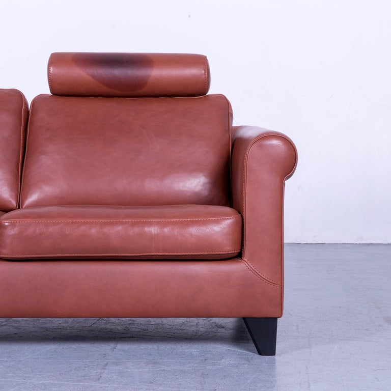 Machalke Designer Leather Sofa Red Two-Seat Couch Set For Sale 1