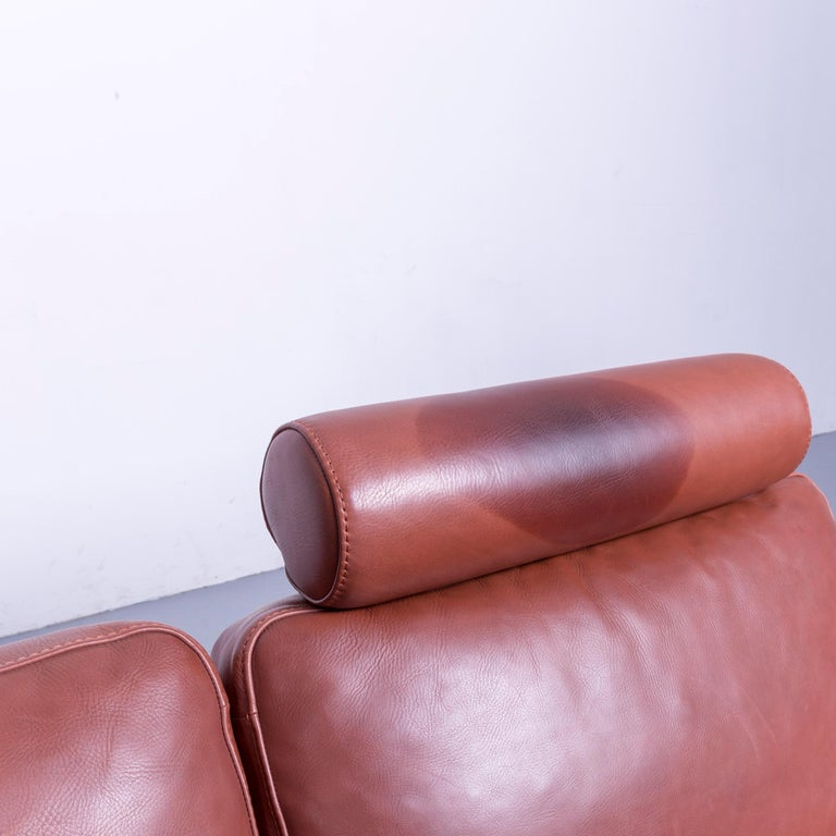 Machalke Designer Leather Sofa Red Two-Seat Couch Set For Sale 3
