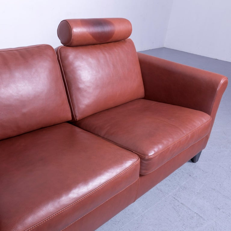 Machalke Designer Leather Sofa Red Two-Seat Couch Set For Sale 4