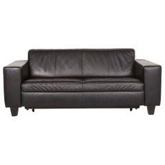 Machalke Leather Sofa Bed Black Two-Seat Sofa Sleep Function Couch