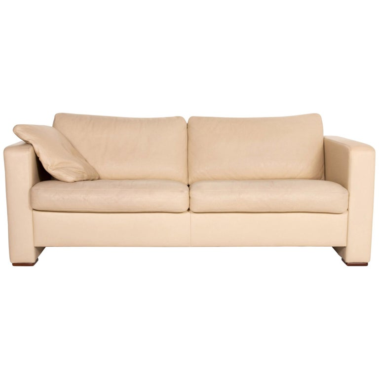 Machalke Leather Sofa Beige Three-Seat Couch For Sale
