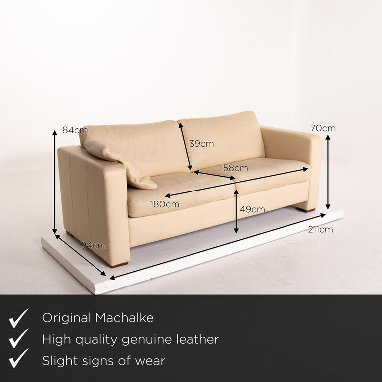 We present to you a Machalke leather sofa beige three-seat couch.